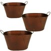 WaldImports Oval Hammered Container (Set of 3)