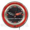 "Holland Bar Stool Corvette - C6 15"" Double Neon Ring Logo Wall Clock"