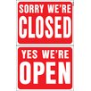 """Hy-Ko 15"""" x 19"""" Plastic Reversible Open Closed Sign (Set of 5)"""