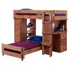 Chelsea Home Twin Over Twin Student L-Shaped Bunk Bed with Desk and Chest End