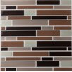 """Achim Importing Co Piano 9.13"""" x 9.13"""" Glazed Glass Tile in Coffee and Beige"""
