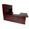 OfficeSource Brunswick U-Shape Executive Desk with File Drawer