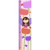 Green Leaf Art Little Fairy Girl with Colorful Flowers Growth Chart