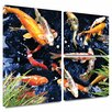 ArtWall 'Koi' by George Zucconi Flag 3 Piece Painting Print Gallery-Wrapped on Canvas Set