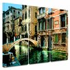 ArtWall 'Venice Canal' by George Zucconi 3 Piece Painting Print Gallery-Wrapped on Canvas Set