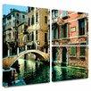 ArtWall 'Venice Canal' by George Zucconi Flag 3 Piece Photographic Print Gallery-Wrapped on Canvas Set