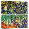 ArtWall 'Irises in the Garden' by Vincent Van Gogh 4 Piece Painting Print Gallery-Wrapped on Canvas Set