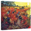 ArtWall 'Red Vineyard at Arles' by Vincent Van Gogh Painting Print on Canvas