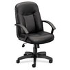 HON Basyx Mid-Back Leather Swivel / Tilt Conference Chair with Arms