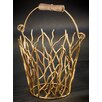Kindwer Gilded Iron Branches Bucket with Wood Handle