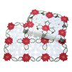 Xia Home Fashions Holiday Poinsettia Embroidered Cutwork Placemat (Set of 4)