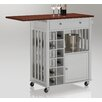 Wholesale Interiors Justin Solid Wood Kitchen Cart with Dark Oak Drop Leaf Top and Built-in Wine Rack