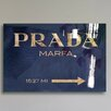Oliver Gal Oliver Gal Marfa Navy Textual High Gloss Canvas Art