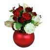 Jane Seymour Botanicals Mixed Rose and Snowball Centerpiece Ball Vase