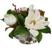 Jane Seymour Botanicals Magnolias and Red Berries in Glass Bowl