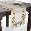 Saro Embroidered Holly Runner