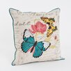 Saro Printed and Embroidered Throw Pillow
