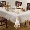 Saro Golden Blossom Embroidered and Cutwork Tablecloth