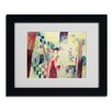 "Trademark Fine Art ""Two Women and a Man With Parrots"" by August Macke Matted Framed Painting Print"