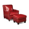 Palatial Furniture Prescott Leather Arm Chair and Ottoman