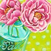 GreenBox Art Ball Jar Peonies by Paula Prass Painting Print on Wrapped Canvas