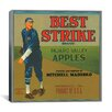 iCanvas Best Strike Brand Apples Vintage Crate Label Canvas Wall Art