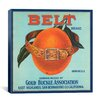 iCanvas Belt Brand Oranges Vintage Crate Label Canvas Wall Art