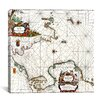 "iCanvas ""Antique Map of Norway - Pascaarte Van De Noord Zee (Colom, Arnold 1650)"" Canvas Wall Art by Alexander Jamieson"