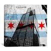 iCanvas Chicago Flag, Willis Tower (Sears Tower) with Map Graphic Art on Canvas