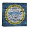 iCanvas Boston, Massachusetts Flag, Grunge Boards Square Graphic Art on Canvas