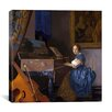 """iCanvas """"A Young Woman (Lady) Seated at a Virginal (Zittende Klavecimbelspeelster)"""" Canvas Wall Art by Johannes Vermeer"""