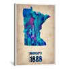 iCanvas 'Minnesota Watercolor Map' by Naxart Graphic Art on Canvas