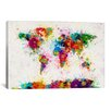 iCanvas 'World Map Paint Drops' by Michael Tompsett Painting Print on Canvas