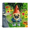 iCanvas 'Pug Gnome' by Brian Rubenacker Painting Print on Canvas
