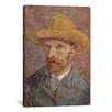 iCanvas 'Self Portrait with a Straw Hat 1887' by Vincent Van Gogh Painting Print on Canvas
