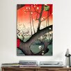 iCanvas 'Plum Garden over Shin-ohashi Bridge' by Ando Hiroshige Painting Print on Canvas
