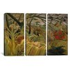iCanvas Henri Rousseau Tiger in a Tropical Storm (Surprised) 3 Piece on Wrapped Canvas Set
