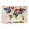"""iCanvas """"World Map Urban Watercolor""""by Michael Tompsett Painting Print on Canvas"""
