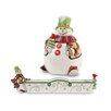 Fitz and Floyd Holly Hat Snowman 2 Piece Cracker Cradle and Candy Jar Set