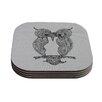 KESS InHouse Owl by Belinda Gillies Coaster (Set of 4)