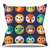 KESS InHouse Smiley Faces by Daisy Beatrice Animals Throw Pillow