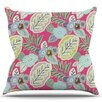 KESS InHouse Begonia Cherry by Laura Nicholson Leaves Throw Pillow