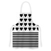 KESS InHouse Heart Stripes and White by Project M Monochrome Lines Artistic Apron