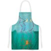KESS InHouse Octopus Flying Manta Rays by Famenxt Green Artistic Apron