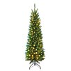 Hometime Snowtime 7' Green Pre-Lit Pencil Pine Artificial Christmas Tree with 300 Clear Lights