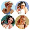 Thirstystone 4 Piece Coke Bathing Beauties Occasions Coaster Set