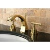 Kingston Brass Manhattan Double Handle Widespread Bathroom Faucet with Brass Pop-up