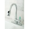 Kingston Brass Green Eden Single Lever Handle Kitchen Faucet with Pull-down Spray