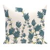 e by design Botanical Blooms Lavender Floral Outdoor Throw Pillow