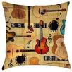 Thumbprintz Guitar Collage Cream Indoor/Outdoor Throw Pillow